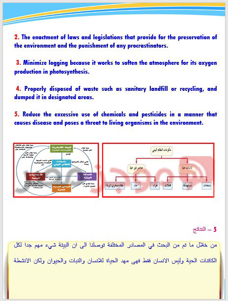 بحث عن البيئة الصف الثالث الاعدادي 3