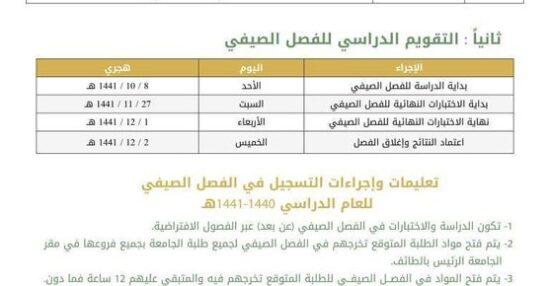 طريقة التسجيل في الترم الصيفي بجامعة الطائف