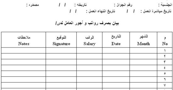 مسير رواتب عمال pdf واستلام الرواتب الشهرية مكتب العمل