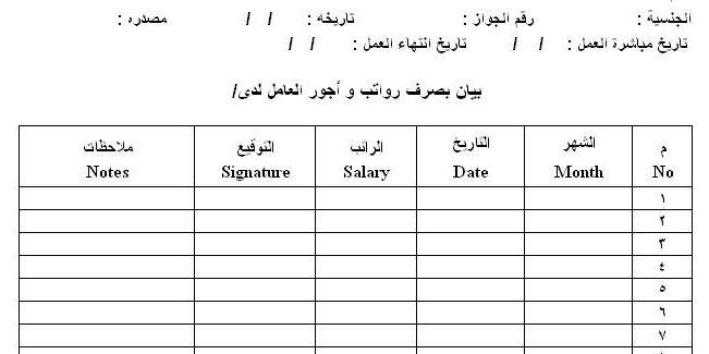مسير رواتب عمال Pdf واستلام الرواتب الشهرية مكتب العمل موجز مصر