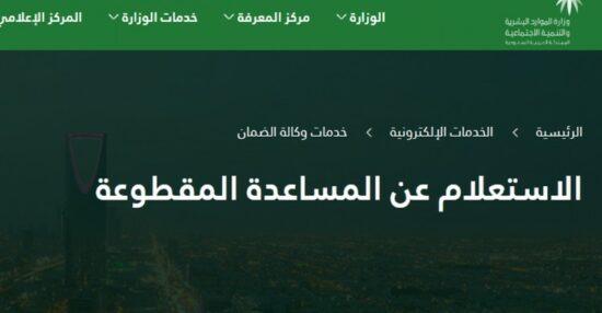 استعلام عن المساعده المقطوعه لشهر رجب 1442 برقم الطلب عبر موقع hrsd.gov.sa وزارة التنمية السعودية