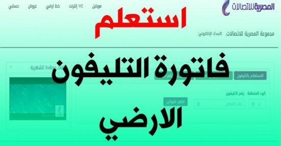 فاتورة التليفون الأرضي 2021 عبر موقع المصرية للاتصالات وما هي تفاصيل السداد عبر الانترنت